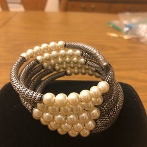 Jewelry - Pearl and pewter colored wrap bracelet